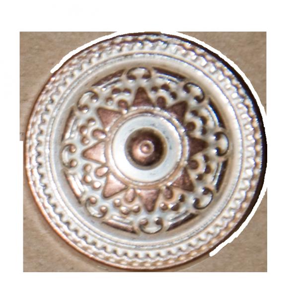 Knopf, Ornament, bronze-silber, 23 mm