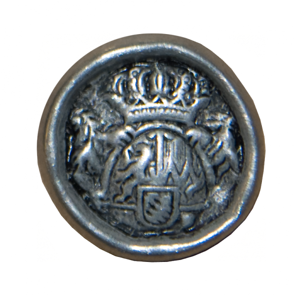 Knopf, Wappen mit Krone, silber, 23 mm