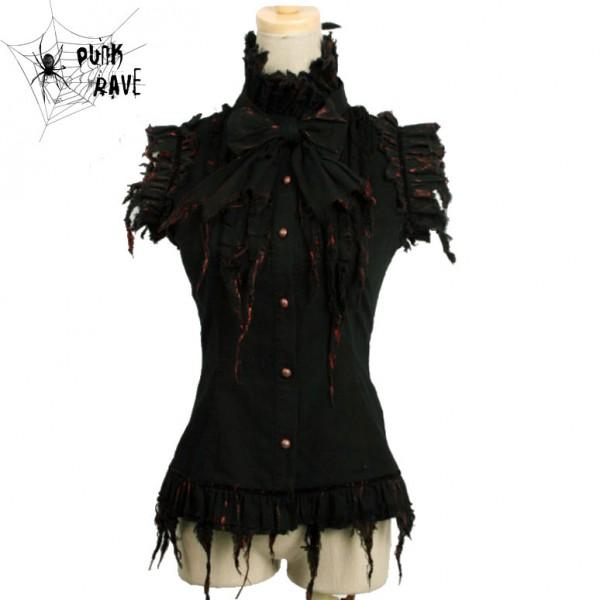 ärmellose Bluse mit Jabot Kragen schwarz vorn