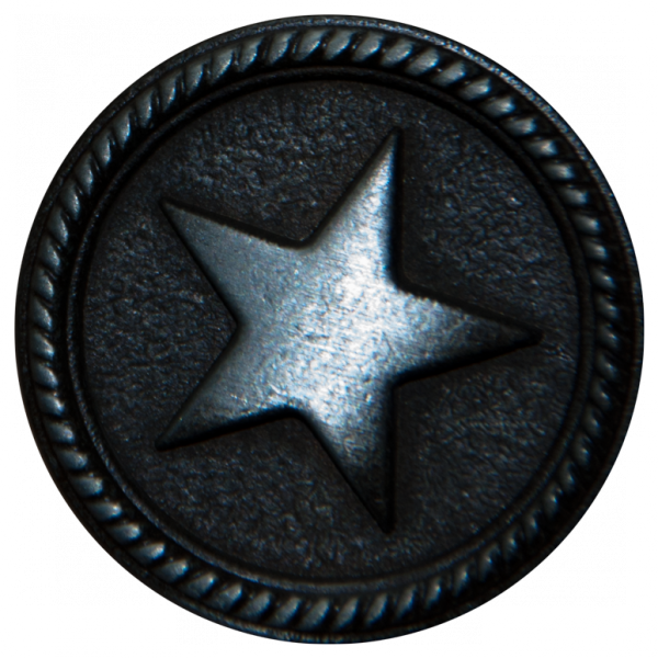 silberner Metallknopf mit Stern Verzierung