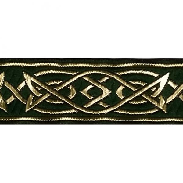 Zierborte, Keltisches Flechtmuster, 33 mm, dunkelgrün-gold