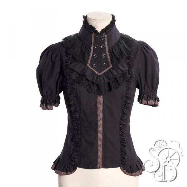 schwarze kurzarm bluse mit jabot sandra kreutz stoff und gewand. Black Bedroom Furniture Sets. Home Design Ideas