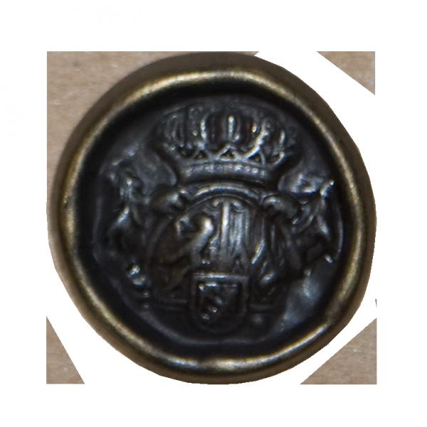 Knopf, Wappen mit Krone, gold, 23 mm