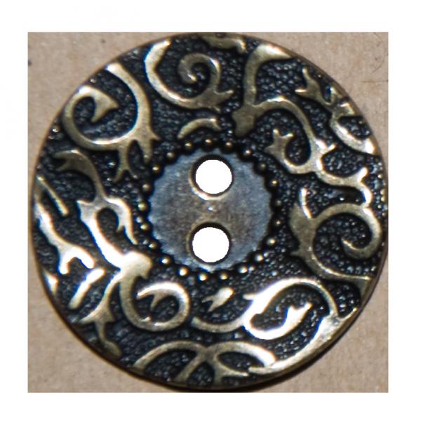 Knopf, filigrane Ranken, gold-schwarz, 23 mm