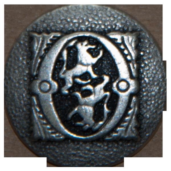 silberner Metallknopf mit zwei Löwen