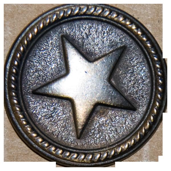 Knopf gebürsteter Stern, altmessing, 28 mm