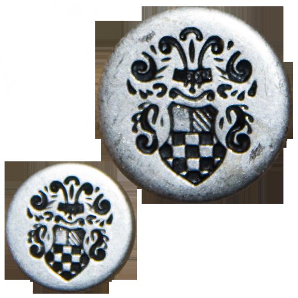 Knopf, Wappen mit Helmzier, altsilber