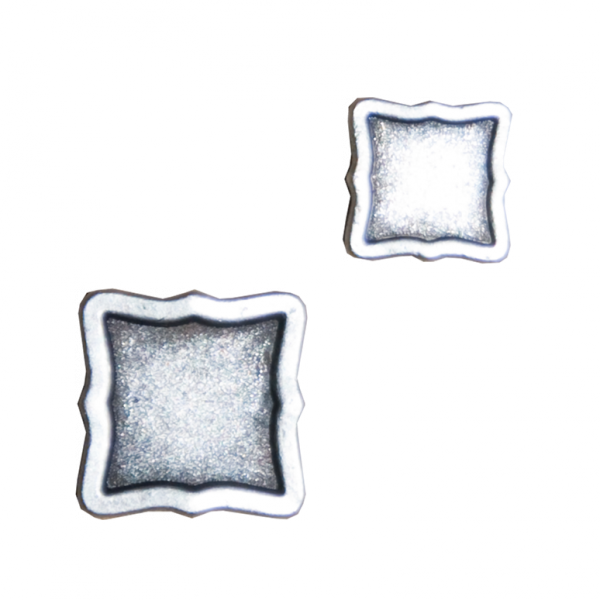 Knopf, quadratisch, altsilber