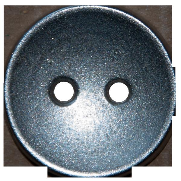 silberner 2-Loch Metallknopf