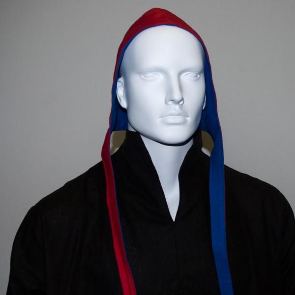 Bundhaube aus Leinen, rot & royalblau