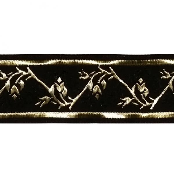 Zierborte, Blumenranke, 33 mm, schwarz-gold