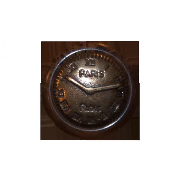 Knopf, Uhr, altmessing, Holzimitat braun, 15 mm