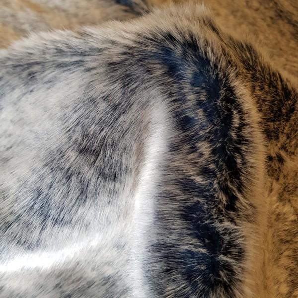 -Reststück- schwerer, weicher, melierter Webpelz, grau-hellblau, 190 cm lang
