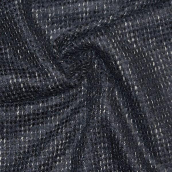 schwerer melierter Bouclé, schwarz-dunkelblau-weiß