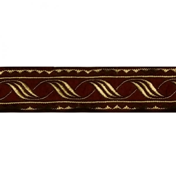 Zierborte, Ranke, 19 mm, bordeaux-gold