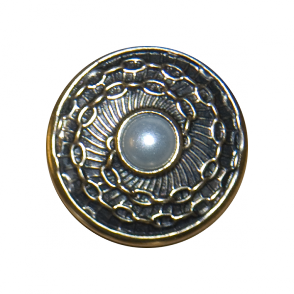 Knopf Ketten mit Perle, altgold, 20 mm