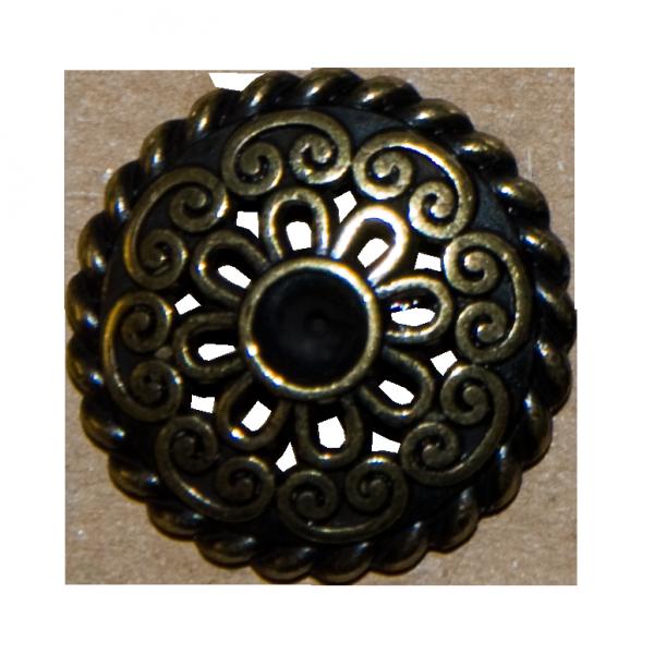 Knopf, durchbrochen mit Stein, altgold, 23 mm