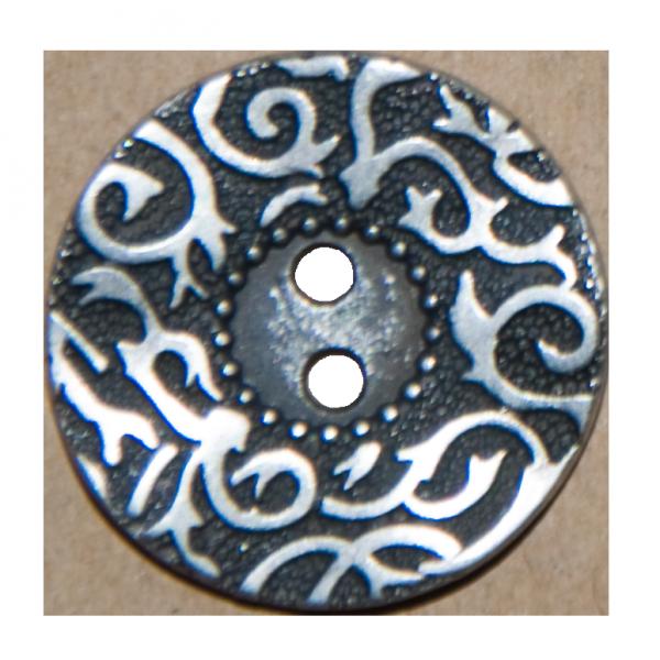 Knopf, filigrane Ranken, silber-schwarz, 23 mm