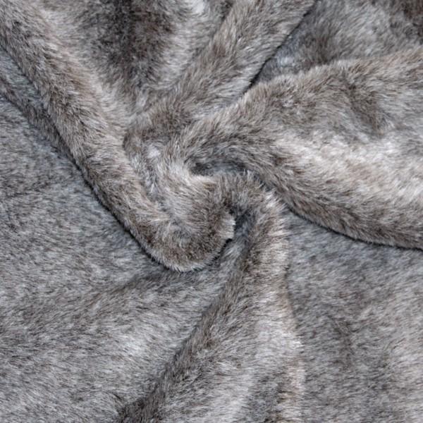schwerer, weicher, melierter Webpelz, braun-grau-wollweiß