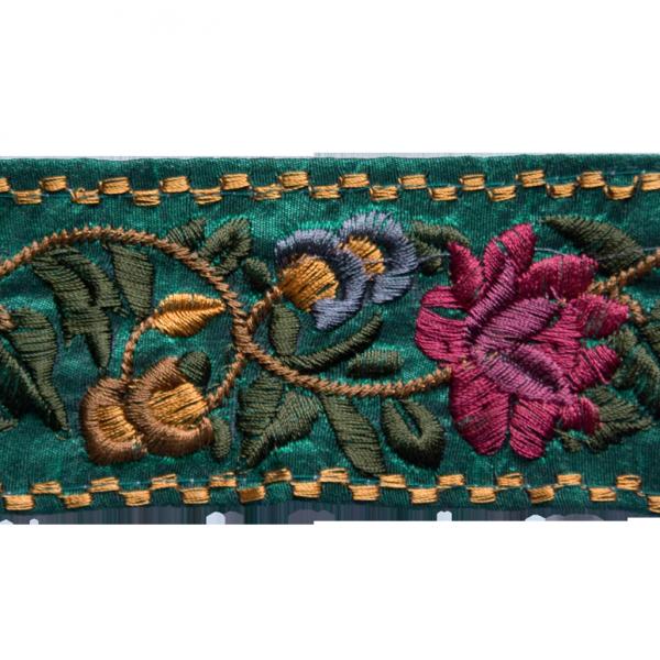 Borte mit Blumenstickerei, grün, 65 mm