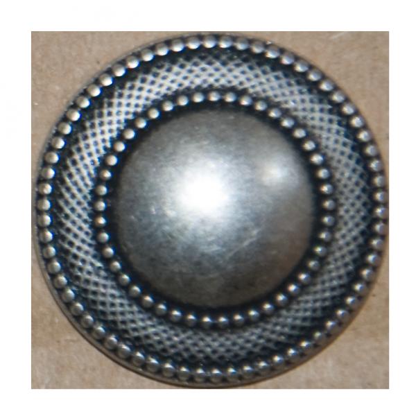 Knopf, rund, breiter Musterrand, silber, 23 mm
