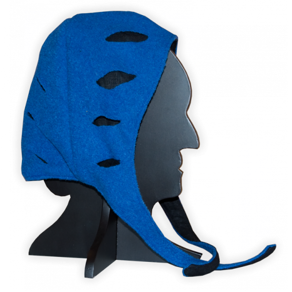 Bundhaube Landsknecht, blau-schwarz, geschlitzt