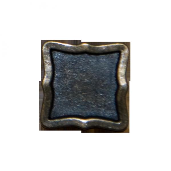 Knopf, quadratisch, altgold, 20 mm