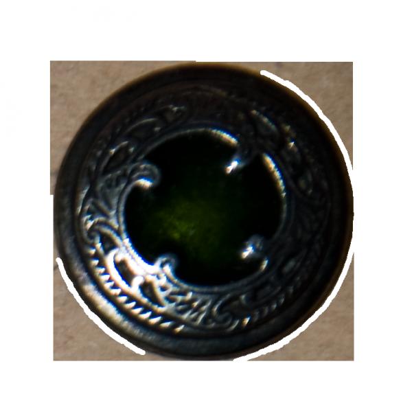 Knopf, Elb, silber-grün, 20 mm