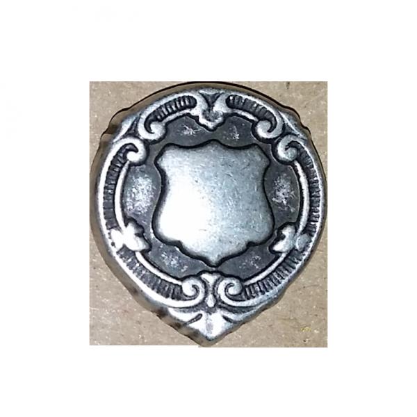 Patentknopf, Wappen, altsilber, 18 mm