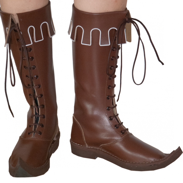 Mittelalter Stiefel aus echtem Leder haselnussbraun
