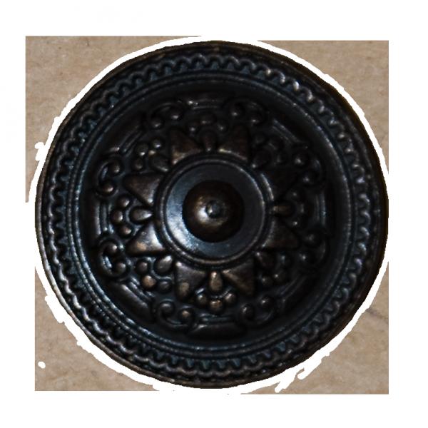 Knopf, Ornament, schwarz-bronze, 23 mm