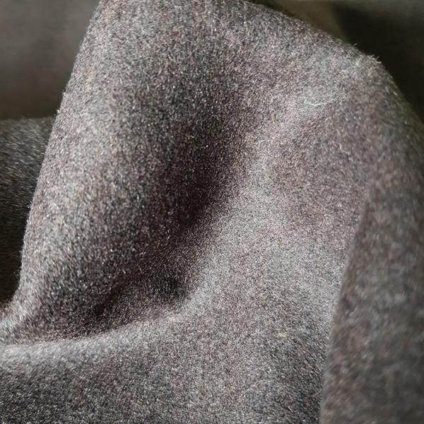 -Reststück- schwerer, leicht melierter Wollstoff (Loden), braun