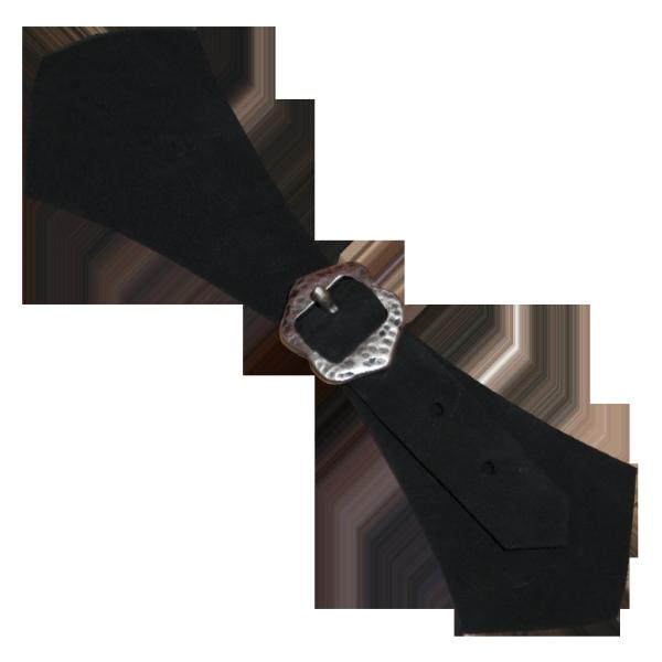 Schnalle aus echtem Leder mit Zierschließe 2, schwarz