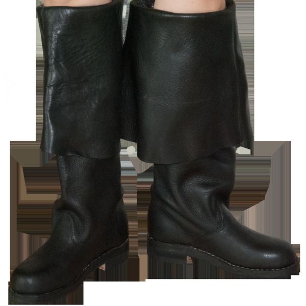 Schwarze Stulpenstiefel aus echtem Leder