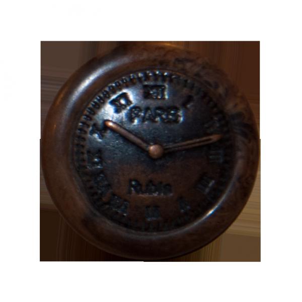 Knopf, Uhr, altkupfer, Holzimitat braun, 20 mm