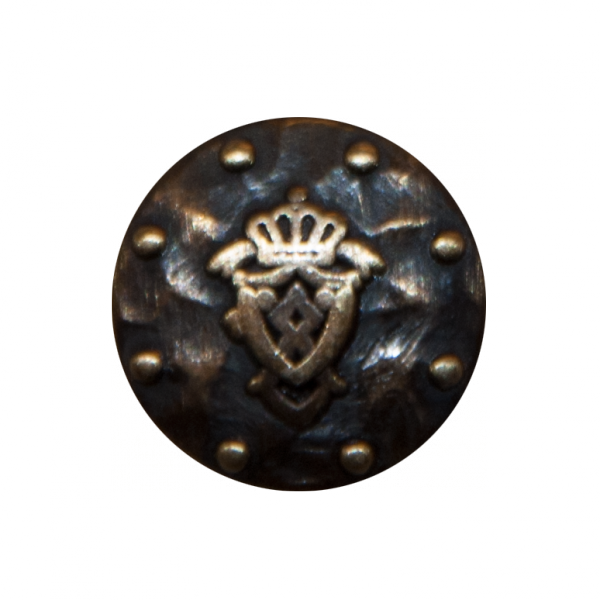Knopf, Wappen gehämmert, altgold, 18 mm