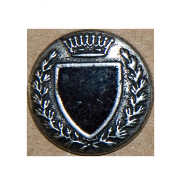Silberner Ösenknopf mit schwarzem Wappenschild