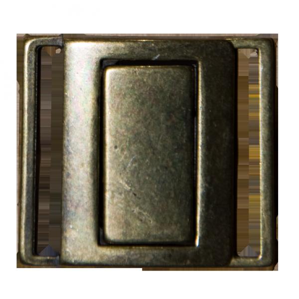 Schließe, 2 Teile, altgold, hxb 33x38 mm