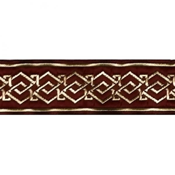 Zierborte, Blumenranke, 33 mm, bordeaux-gold