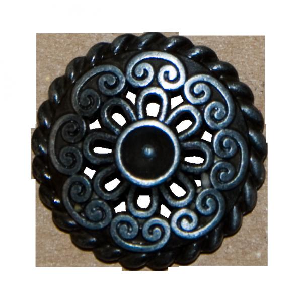 Knopf, durchbrochen mit Stein, altsilber, 23 mm