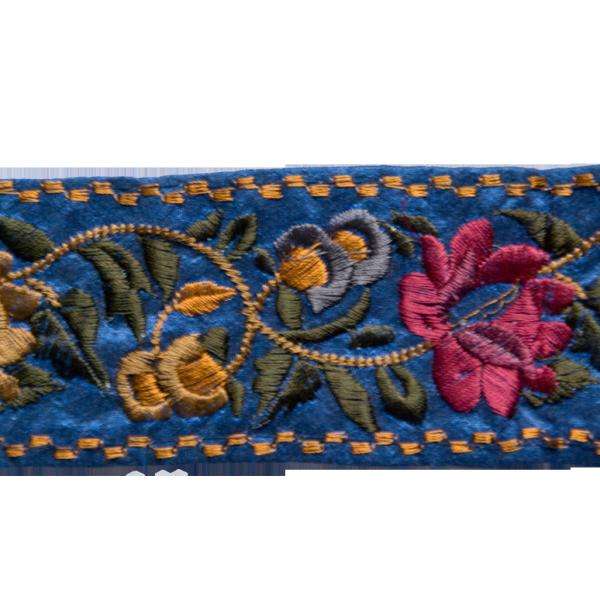 Borte mit Blumenstickerei, blau, 65 mm