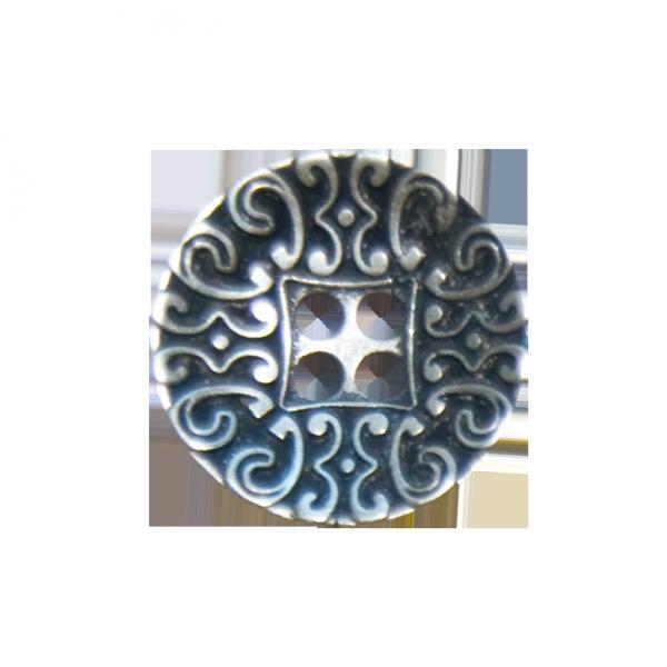 Knopf, 4-Loch, Ranken, silber, 20 mm