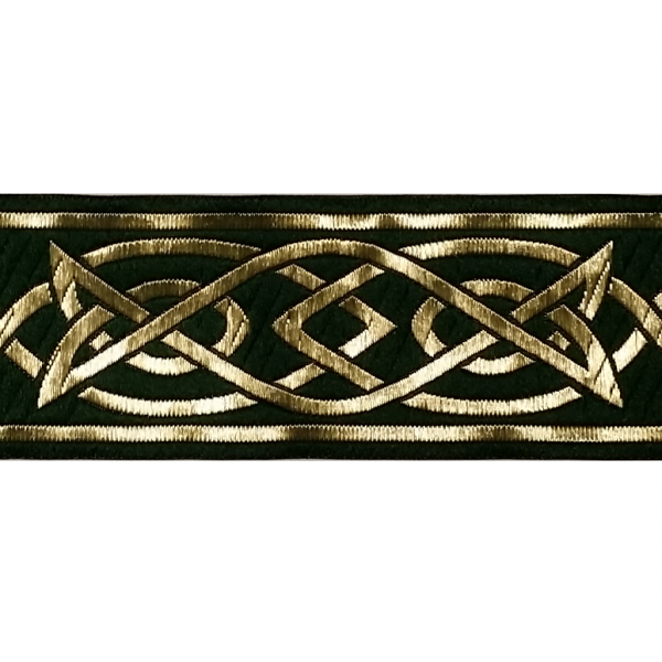 Zierborte, Keltisches Flechtmuster, 50 mm, dunkelgrün-gold
