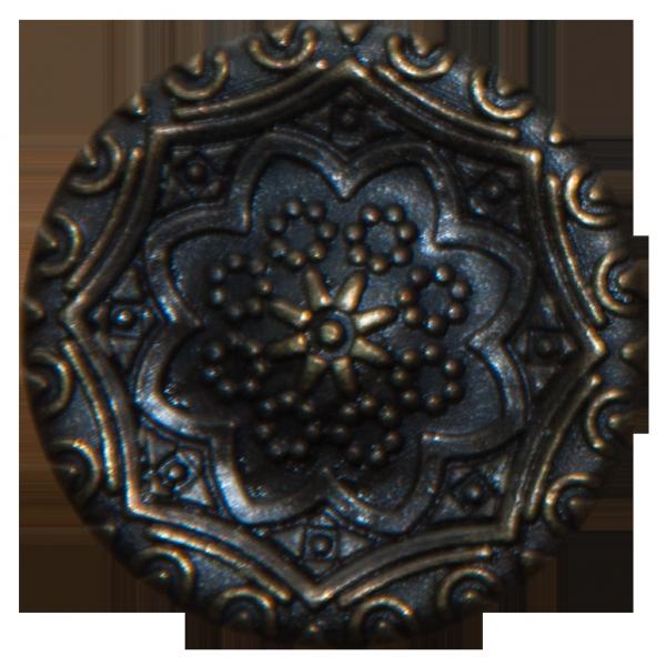 altgoldener Metallknopf mit Blumenverzierung