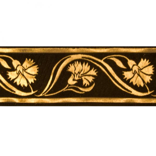 Zierborte, Kornblumen, 50 mm, schwarz-gold