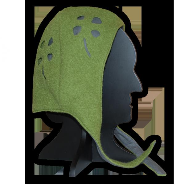 Bundhaube Landsknecht, grün-grau, geschlitzt