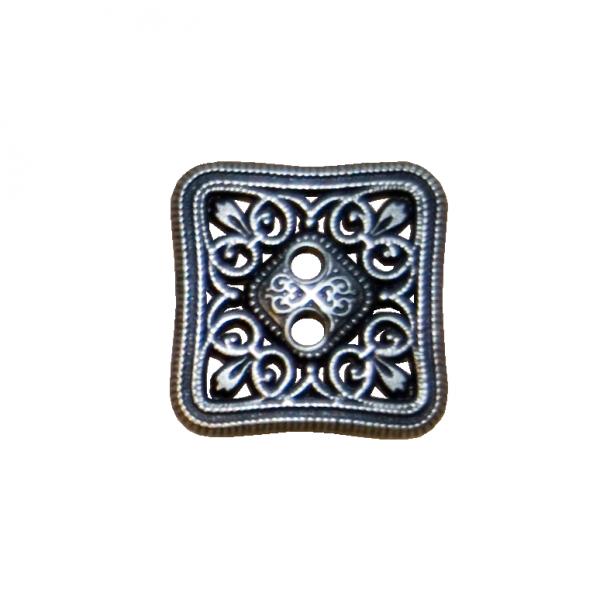 Knopf, viereckig, durchbrochen, silber, 27 mm