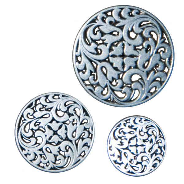 Knopf, durchbrochenes Ornament, silber