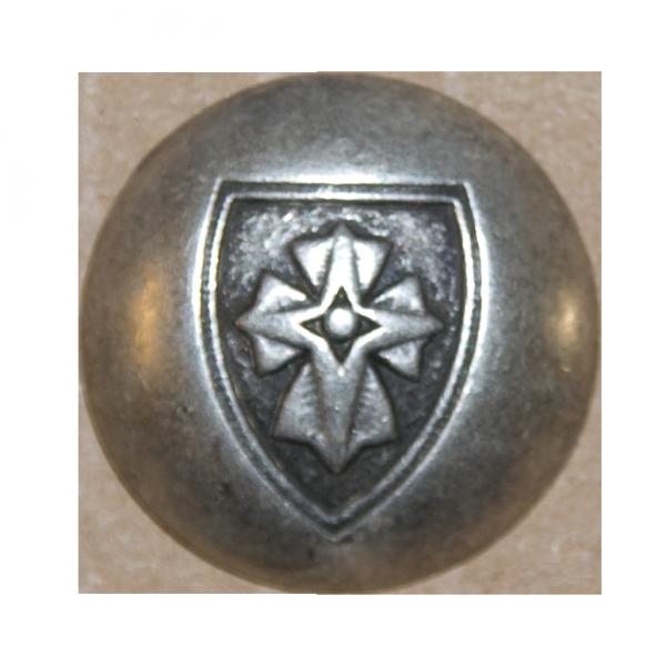 Knopf, Wappen mit Kreuz, altsilber, 23 mm