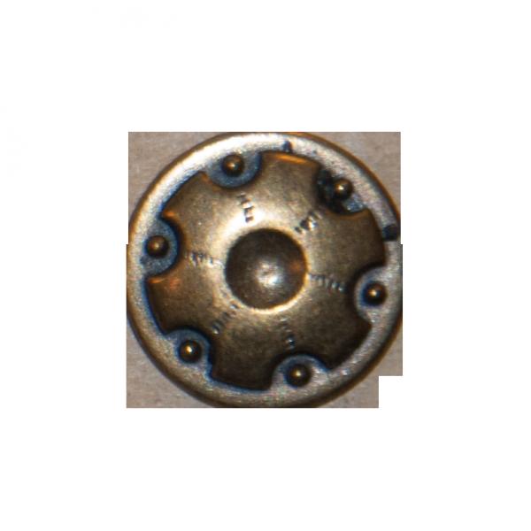 Knopf, Zahnrad, altgold, 15 mm